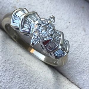 Jewelry - 14 K White Gold w/baguette and round cut diamonds
